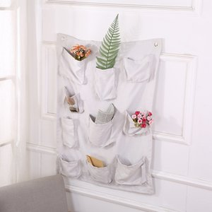 Cloth Art Storage Bag Multi Storey Cloth Receiving Box Hanging Bag Cotton Burlap Hanging Wall Large Storage Bag Cube 19