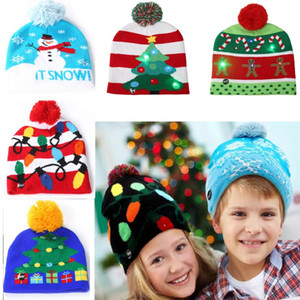 Wholesale Led Snowman Knitted Beanies Cap For Snowflake Christmas Tree Women Children Warm Hair Ball Light Up Hip Hop Hats FA2166