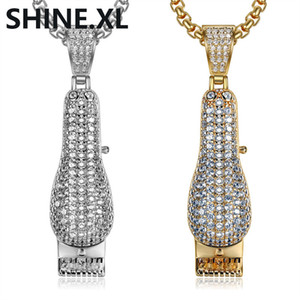 Wholesale Micro inlay Zircon K Gold Razor Pendant Necklace Gold and Silver Plated Men Charm Hip Hop Jewelry