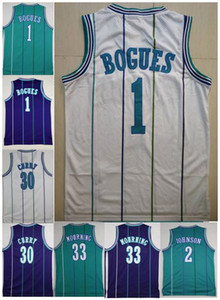 Men Good Quality Embroidery Vintage 33# Alonzo Mourning Jersey 2# Larry Johnson 1# Tyrone Bogues Jersey 3# Shareef Abdur Rahim Jersey Reeves