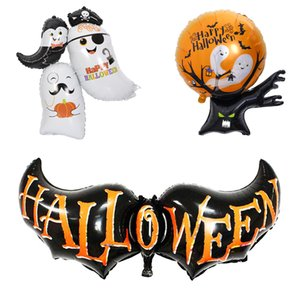 inflables de halloween al por mayor-Halloween Balloons Bat Spirit Host Ghost Tree Halloween Decoration Foil Balloon Inflatable Toy Party Supplies JK1909