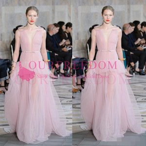 Wholesale dresses fashion elie saab for sale - Group buy 2020 Elie Saab Light Pink Evening Dresses Ruffles Deep V Neck Chiffon Prom Gowns Floor Length Runway Fashion Dresses