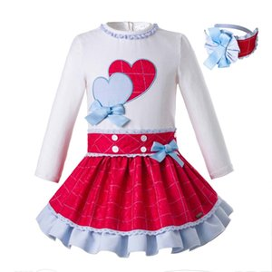 Wholesale Pettigirl Spring Girls Princess Clothing Set Brand With Baby Headband Double Heart Design Tops Kids Designer Clothes G DMCS108 C69