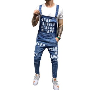 Wholesale Mcikkny Men s Ripped Denim Jeans Bib Overalls Letter Printed Jeans Jumpsuit For Male Streetwear Suspender Pants Size S xxl T2190614