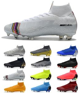 Wholesale Mercurial Superfly VI Elite FG KJ XII CR7 Mens Soccer Cleats Ronaldo Neymar High Heel Soccer Shoes ACC Football Boots
