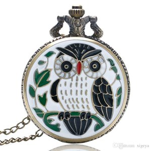 Wholesale New Fashion Lovely Leaves Owl Quartz Analog Pocket Watch with White Fine Chain Necklace Pendant Men Women Creative Gift Bagreloj De Bolsillo