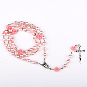 Wholesale rosary bead chain necklace for sale - Group buy Pink Rose Rosary Jesus Cross Pendant Necklaces mm Beads Imitation Pearl Chain Statement Necklace Vintage Jewelry Christmas Gift for Women