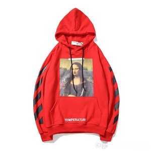 Wholesale Higt quality Pullover Hoodies Red Mona Lisa Printed Mark Hooded Long Sleeved Women s Man s Sweater