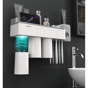 Wholesale Magnetic Toothbrush Holder With Toothpaste Squeezer With Cups For 2 3persons In Bathroom Accessories Storage Nail Free Creative T190708