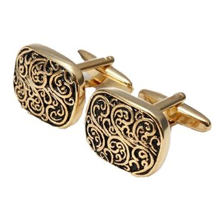 Wholesale Gift Boxed Gold Rome pattern Design Cufflinks Men s Cuff Links For Wedding Gift DROPSHIOING