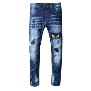 Wholesale 2019 Fashion OFF Brand White Men s Distressed Monster s Yellow Eyes Embroidered Oiled Pants Blue Skinny Jeans Slim Trousers