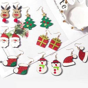 Wholesale santa boots resale online - Santa Claus Elk Snowman Earrings Christmas Tree Boots Drop Dangle Earring styles for Women Girls Jewelry XMAS Gifts Wholesales