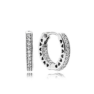 Wholesale Real Sterling Silver Hoop Earring Original Box set for Pandora CZ Diamond Women Wedding Heart Stud Earrings