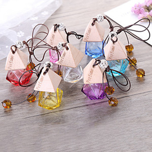 Glass Car Perfume Bottle with Wood Beautiful Cap Empty Refillable Bottle Hanging Cute Air Freshener Carrier ZZA1136