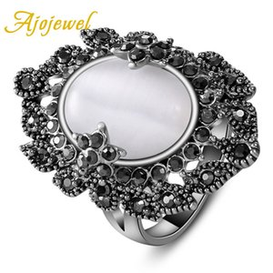 Wholesale Ajojewel Beautiful Oval White Opal Rings For Women Lady Black Rhinestone Vintage Ring Jewelry Anillos Mujer