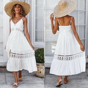 Wholesale Women Lace Summer Party Ladies Maxi Long Beach Holiday Dress Sundress White Lace Sleeveless V neck Dress