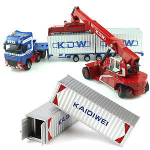 Alloy Diecast 1:50 Low Bed Transporter Container  Reach Stacker  Front Trolley Truck Rubber Tire Vehicles Model Kids Gift Toys CJ191212