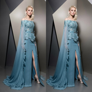 Wholesale Ziad Nakad 2019 Evening Dresses With Wraps caped Teal Off Shoulder Lace Split Train Prom Gowns Plus Size Formal dress Robes De Soirée