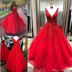 Wholesale Red Lace Prom Dresses Lace Appliques Beaded Belt Sleeveless Tulle Party Dresses Sexy Quinceanera Dresses