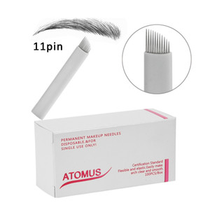 100pcs Microblading Needles 11pins 9 12 14 21PIN Agujas Microblading Laminas Para Tebori Embroidery Pen Use For Pernement Makeup Eyebrow