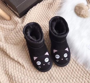 Wholesale Best sell kids boys girls warm snow boots cute cartoon children winter shoes ankle boots genuine Leather baby toddlers snow boot