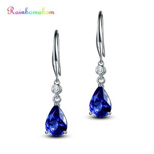 Wholesale Rainbamabom Sterling Silver Royal Blue Sapphire Gemstone White Gold Drop Dangle Hook Earrings Fine Jewelry Gift