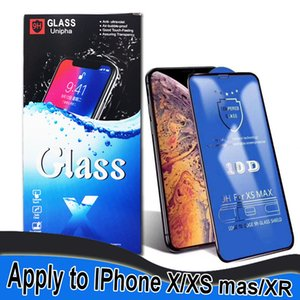 Wholesale 10D tempered glass full cover glue screen protector for Iphone XR XS MAX X S plus for Samsung M10 M30 A30 A70 with retail packaging