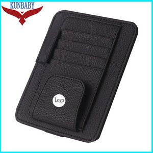 Wholesale KUNBABY Leather Eye Glasses Card Bill Pen Holder Clip Car Accessory Sun Visor Sunglasses Cover For