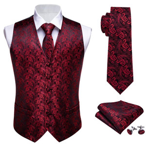 Wholesale Mens Tie Classic Red Paisley Jacquard Silk Waistcoat Vests Handkerchief Party wedding Tie Vest Suit Pocket Square Set Barry Wang