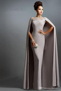 Arabic Long Mermaid Evening Dresses With Cape Illusion Neck Lace Mother of the Bride Dresses Long Formal Party Prom Gowns on Sale
