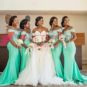 Wholesale 2020 New Mint Green African Off The Shoulder Mermaid Bridesmaids Dresses Floor Length Sleeveless Sexy Black Girl Wedding Guest Prom Dress