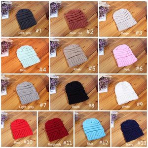 Kids and Adult Beanies Ladies hats Knitted BonnetFashion Visor Cup Child women Winter Warm Hat Weave gorro Hat 13 Colors