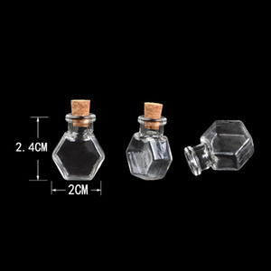 Wholesale Hexagon Glass Bottles Pendants Small Wishing Bottles With Cork Transparent Jars Gifts Vial Handmade bottles