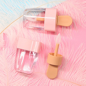 Wholesale Wholesale-DIY Make Up Tool Empty Lip Gloss Tube Cosmetic Ice Cream Transparent Lip Balm Refillable Bottle Containers Cream Jars