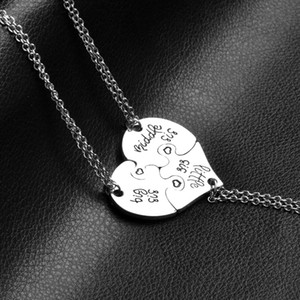 Wholesale 3 Piece Heart Personalized Hand Stamped big sis middle sis little sis Sister Necklace Family Jewelry Sisters Gift