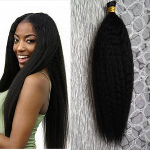 Coarse yaki I Tip Hair Extensions 100g strands 100% unprocessed virgin brazilian hair kinky Straight Pre Bonded Capsules Hair Extension