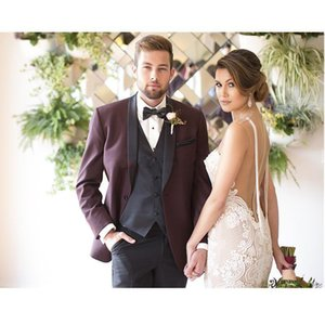 Wholesale Decent Men s Suits Burgundy Wedding Slim Fit One Button Groom Tuxedos With Shawl Lapel Three Pieces Coat Pant Vest Bridegroom Wear