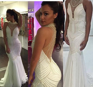 2020 White Pearls Mermaid Pageant Dresses High Neck Chiffon Hollow Back Luxury Prom Evening Formal Dress Gowns beaded perals Cheap long on Sale