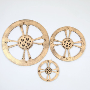 Wholesale wood works resale online - 1PC Wrought Wood Industrial Wind Stereo Gear Home Restaurant Bar Creative Wall Decoration Wall Hanging JL