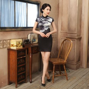 Wholesale Spring and Summer Slim Fit Chinese Cheongsam Retro Printed Cheongsam Lady Party Tang Costume Black White Short Dress JXLGD94