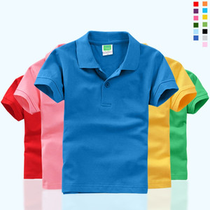 Wholesale DIY Children Short Sleeve T shirt Kindergarten Kids Boy Girl POLOS Parent child Polo Shirt Customize Print Pure Color Summer Shirt Top Tees