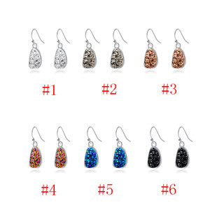 Ear Pendants Earrings with Irregular Water Drop Molding in Natural Crystal Clusters 6colors for Woman Free Shipping Tc190429 10pcs