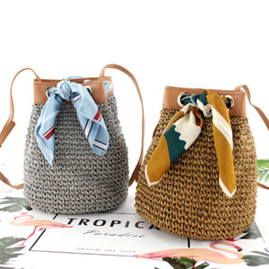 Casual Silk Scarf Small Bucket Straw Bag Fashion Trend Single Shoulder Slung Woven Bag Beach Bag Female Messenger Handbag on Sale