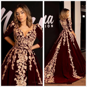 Wholesale Kaftan Caftan Burgundy Velvet Evening Dresses Half Sleevs Gold Luxury Lace Applique Arabic Dubai Abaya Special Occasion Gowns