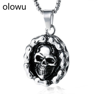 Wholesale olowu Virtus Mors Stainless Steel Skull Necklace Men s Biker Gothic Bicycle Chain with Skull Pendant Necklaces Costume Jewelry