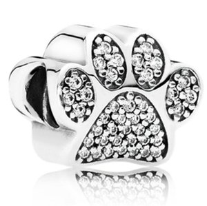 Wholesale Silver Gold Bear Dog Paw Large Hole Alloy Rhinestone Beads Diamante Loose Beads for European Charm Bracelet Jewelry gift