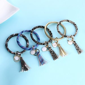 Wholesale Tassel Charms Bangles Key Buckle PU Leather Wrap Wristbands Keys Chain Multi Colors Bracelet Ring style RRA2119