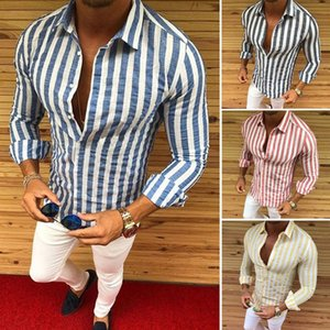 Wholesale 2019 Men Luxury Casual Slim Fit Stylish Formal Dress Shirts Striped Skirt Long Sleeve New M-XXXL #449524