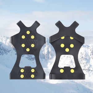 ingrosso crampi di neve-10 Acciaio Borchie Ice Tacchetti Anti Skid Neve Ice Climbing Shoe Spikes Grips Ramponi morsetti Overshoes Climbing Gripper Gifts RRA2243