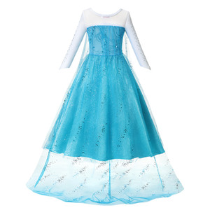 ingrosso vendita mantelle-Clearance Sale Princess Girl Blue Dress Up Abbigliamento Ragazza con mantello lungo Pageant Ball Gown Kids Deluxe Fluffy Bead Halloween Party AA191119